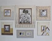 Set of Metallic Distressed Mod Wall Frames Gallery Style Geometric