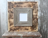 Rustic Distressed Frame Raw Wood Fluted Trim in Perfect Greige 4x4 Opening