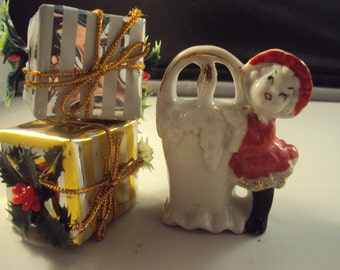 Tiny Pixie Christmas Girl With Candle Basket  Vase Toothpick Holder Japan