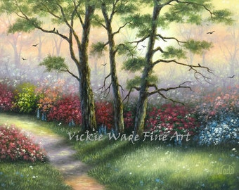 Misty Woods Art Print, garden pathway painting, trees, flowers, beautiful landscape, Vickie Wade Art