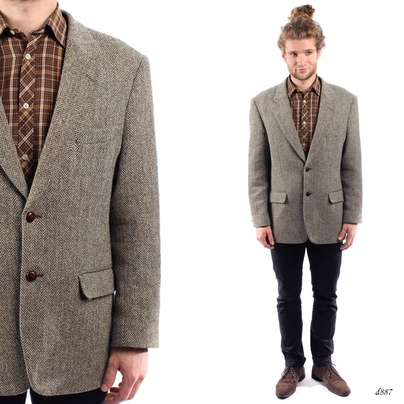 Vintage Tweed Blazer . Harris Tweed Mens Jacket . 70s Mens