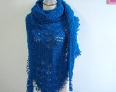 Crochet Shawl in Dark Blue