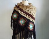 Crochet Shawl afghan in Brown