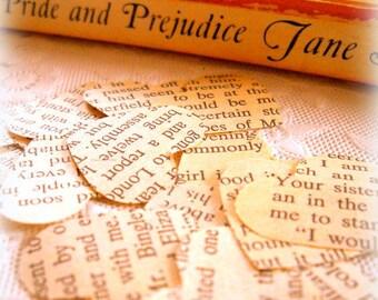 Pride & Prejudice Heart Confetti / Wedding Decor / 50 Pieces / Vintage Confetti / Party Confetti