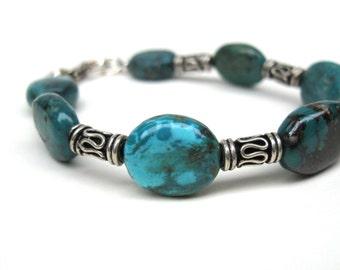 Natural turquoise bracelet with bali sterling silver, Silver bracelet