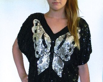 vintage. Black and Silver Sequins Butterfly Silk Blouse  // S to M