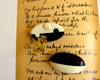 Mod Earrings Givenchy Paris New York 1970s Chic Domed Oblong Black Ivory Stripe Celluloid Clips