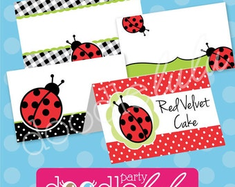 Ladybug Party Food Labels - Ladybug Party Buffet Cards - Ladybug Birthday Party Table Tents - Spring Party - PRINTABLE, INSTANT DOWNLOAD