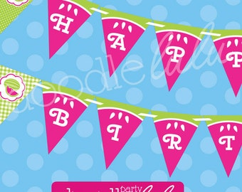 Watermelon Happy Birthday Banner - Pink and Green Watermelon Banner - Girl Birthday Party - PRINTABLE - INSTANT DOWNLOAD