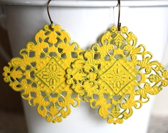 Yellow Filigree Earrings, Handpainted Earrings, Bronze Filigree Earrings,Earrings Boho Earrings Rustic Jewelry Dangle Earrings