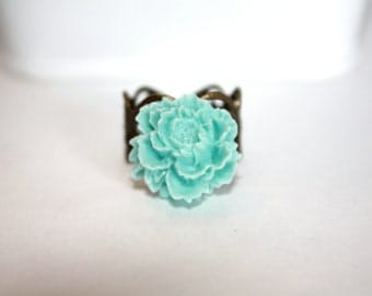Light Blue Flower Ring, Adjustable Filigree Ring, Antique Bronze Ring