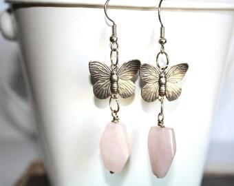 Butterfly Dangle Earrings, Rose Quartz Earrings Silver Earrings Jewelry,