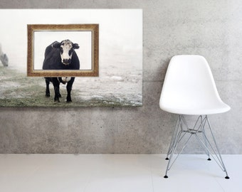 Stretched Fine Art Canvas of  Black and White Cow with Gold Picture Frame  French Country Decor Fine Art Photography
