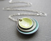 Citron Yellow Tea Green  Mint Modern Minimalist Enamel Necklace Sterling Silver