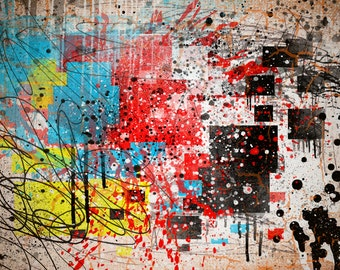 Abstract Splatter Paint Print. Thrown paint jackson pollock painting art picture poster drip aged expressionist pop art liquid action paint