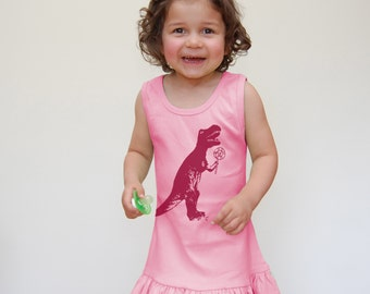 Pink Dress, Knit Dress, Tank Dress, Dinosaur Dress, T-Rex Dress, Cute baby clothes, girls clothes, ruffle dress