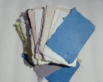 Ten small sheets of handmade paper