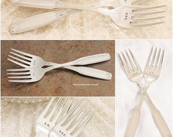 Personalized Mr. Mrs. Fork Set, Wedding Forks with Optional Wedding Date - Custom Made to Order Bridal Flatware