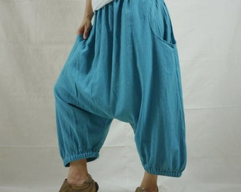 Enjoy Your Day - Teal Blue Medium Weight Light Cotton Women Men Pants Capri Ninja Harem Funky