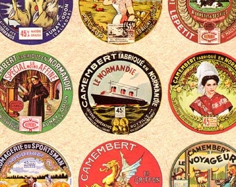 Camembert cheese Labels 1.5 inch circles vintage French digital collage sheet Instant Download 157