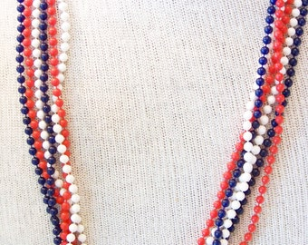 Old Glory 1960s Red White Blue Plastic Fused  Beaded Necklace Patriotic Jewelry Vintage Patriotic Jewelry