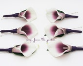 Real Touch Picasso Calla Lily Boutonnieres Groom Groomsmen Wedding Flower Package Plum Ribbon - Customize for Your Wedding Colors