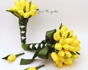 Ready to Ship - Real Touch Tulips Bridal Bridesmaid Bouquet Groom Groomsman Boutonniere - Yellow Tulips Moss Green Ribbon Wedding Package