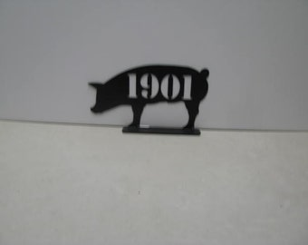 Pig Mailbox Topper with Numbers Metal Yard Art Silhouette