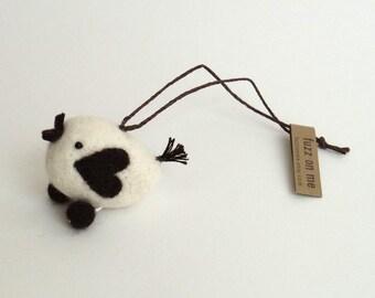 Miniature felt bird with heart wings, Needle felted love bird ornament - dark brown Woodland decor