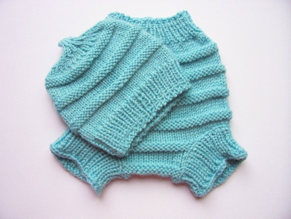 Knit Wool Diaper Cover Pattern : Items similar to Hand Knitted Wool Cloth Diaper Cover soaker with matching Ha...