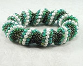 Green and White Cellini Spiral Bracelet