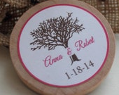 Wedding Favor Wood Magnets-50 Custom Save the date  made to order tree vintage inspired