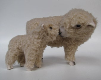 English Southdown Sheep Figure Nose to Nose with Her Lamb
