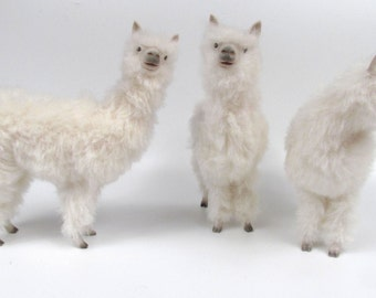 Handmade Life Like Alpaca Figurine,  Handcarved, of Porcelain and Alpaca