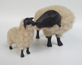 Suffolk Sheep Figurine Nose to Nose With Lamb