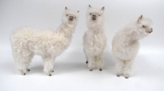 Handmade Life Like Alpaca Figurine,  Handcarved, of Porcelain and Alpaca