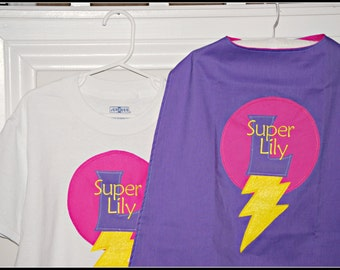 Custom Made EMBROIDERED and Personalized SuperHero Cape and Matching Shirt in Purple and Pink