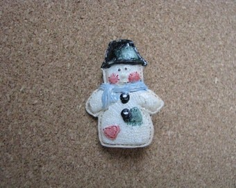 Little vintage resin snowman pin brooch with pink heart