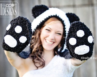 PATTERN Panda Bear Hood with Scarf and Paws Crochet PDF Pattern with Instant Download