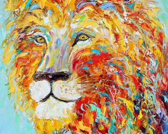 """Print of Colorful Lion 20"""" x 20"""" Gallery Quality Giclee Prints on canvas of Original painting by Karen Tarlton fine art"""
