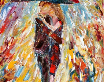 Fine art print Embrace My Love - made from image of past oil painting by Karen Tarlton - impressionistic palette knife modern art