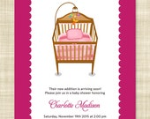 Baby Shower Invitation, Printable Baby Shower Invitation, Baby Shower Invitation Template for Baby Girl - Sweet Dreams with Pink Crib