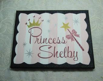 Princess Theme Name Canvas, Custom Painted Canvas Quote, Hand Painted Quote, Canvas Wall Art, Canvas Wall Quotes, Custom Wall Art, 16 x 20