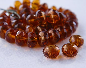 CLEARANCE...20% OFF...Amber Facetted Rondelle Czech Beads, Glass Fire Polished Spacers, 6x9mm, donut glass beads (12pcs)