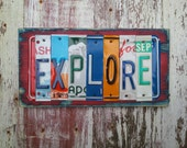 7 letter License Plate NAME Boys Adventure Explore Customized Word Sign Custom States Wedding 10th Anniversary Metal Art Recycled Nursery