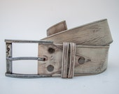 Gift for father Womens belt Light Grey Leather Belt handmade in Vintage Look By Ishaor