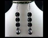 Jet Black, Octagon, Long Dangle Earrings, Swarovski, Crystals, Silver Night, Teardrop, 925 Sterling Silver, Clear CZ Long Earwires, Jewelry