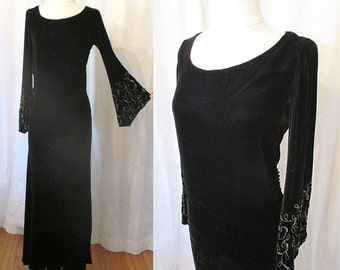 Stunning 1930's  Bias Cut Black Silk Velvet Gown w/ Bead Work by