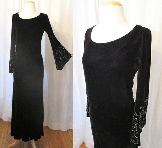 "Stunning 1930's  Bias Cut Black Silk Velvet Gown w/ Bead Work by ""H. Liebes & Co."" Vintage Old Hollywood Glamour Movie Star  Size-Medium"