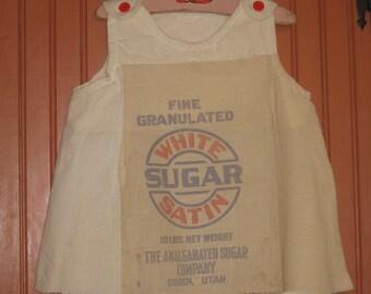 Sugar Sack Feedsack Dress Jumper Log Cabin Decor Cottage Country Kitchen Farmhouse Prairie Dress